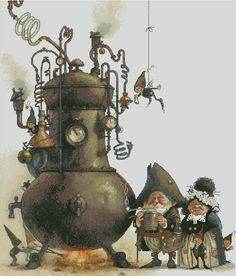 Couple of Dwarfs and Elfs Brewers by Monge Jean-Baptiste