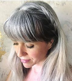 Are you going gray cold turkey with long hair? Here is what to expect, so you ca., - Are you going gray cold turkey with long hair? Here is what to expect, so you ca…, - Grey Hair With Bangs, Long Gray Hair, Gray Hair Growing Out, Grow Hair, Curly Hair Styles, Natural Hair Styles, Color Ceniza, Updo, Lauren Conrad