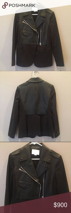 Alexander Wang Black Leather & cotton Biker Blazer Edgy black cotton and leather blazer by Alexander Wang. Features silver zip hardware, buttoned cuffs, and belt loops. Brand new with tags, never worn. Mint condition, but MISSING BELT. Alexander Wang Jackets & Coats Blazers
