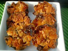 Florentins 100g de crème double 95g de sucre vanillé maison 30g de miel d'oranger 60g d'amandes effilées 125g de fruits confits de qualité, -écorces d'oranges, de citron, cerises, cédrat, angélique coupés en petits dés 150g de chocolat de couverture