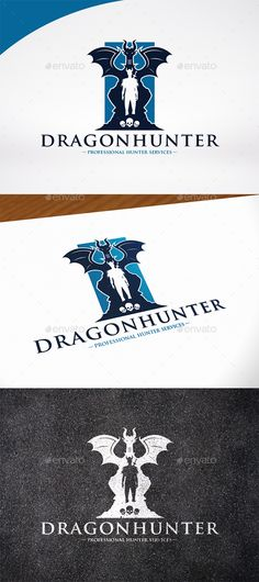 Dragon Hunter Logo Template — Photoshop PSD #story #asia • Available here → https://graphicriver.net/item/dragon-hunter-logo-template/16435725?ref=pxcr