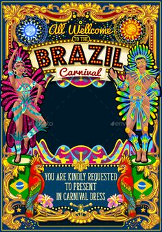 Rio Carnival Poster Theme Brazil Carnaval Mask Show Parade by aurielaki Rio Carnaval festival poster illustration. Brazil night Show Carnival Party Parade masquerade invitation card template. Latin danc