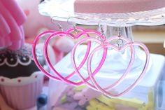 Sweet Lolita Heart Hoop Earrings Pick One by kittywooddesigns, $4.00