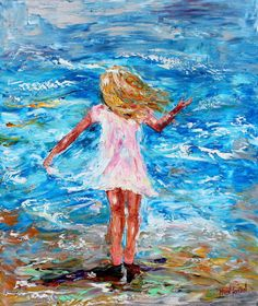 Original oil painting Beach Child Abstract figurative on canvas palette knife impasto modern texture fine art impressionism by Karen Tarlton via Etsy