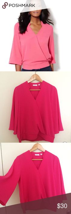 Surplice blouse XS Pretty raspberry color. Making very feminine outlook. I really love this but not my color. Tried at home. No flaws New York & Company Tops Blouses