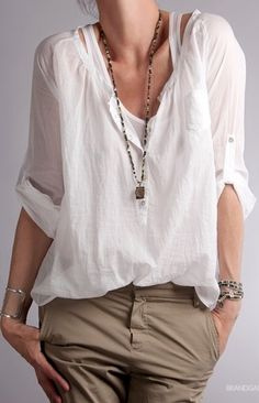 Spring / Summer - street chic style - casual style - beach style - rolled up sleeve chiffon v-neck blouse + kaki pants + bohemian long necklace