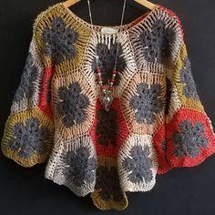 Crochê by Rosarito Col Crochet, Crochet Coat, Crochet Cardigan, Crochet Quilt, Crochet Clothes, Crochet Stitches, Crochet Shawl, Fair Isle Knitting Patterns, Crochet Poncho Patterns
