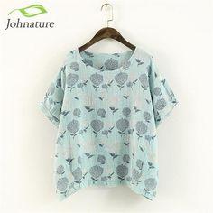 Johnature Japanese Style Vintage Shirt