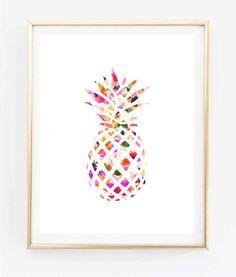 floral ananas peinture art décoration impression typographique imprimer dessin décoration murale encadrée cite chambre affiche tumblr room Decor 8 x 10