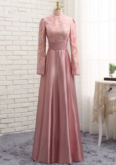 Cheap long evening gowns, Buy Quality evening gown directly from China prom gown Suppliers: HVVLF Pink Muslim Evening Dresses 2017 A-line Long Sleeves Satin Sequins Elegant Long Evening Gown Prom Dress Prom Gown Muslim Evening Dresses, Long Evening Gowns, Muslim Dress, Evening Party, Modest Dresses, Trendy Dresses, Elegant Dresses, Prom Dresses, Dress Prom