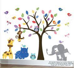 Los niños pared calcomanía buho Selva árbol por couturedecals