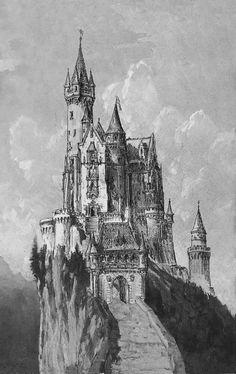 Historical Designs / Utopias / Monuments - Never built - Page 49 - SkyscraperCity Gothic Castle, Dark Castle, Fantasy Castle, Fairytale Castle, Medieval Tattoo, Castle Sketch, Castle Drawing, Fantasy Art Landscapes, Landscape Drawings
