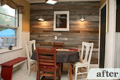 I am thinking of adding barn wood to one of the walls in my kitchen.  Hopefully it will look like this one