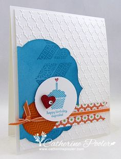 I love the blue and orange on this card. http://catherinepooler.com/2013/03/lacking-inspiration-for-card-making/