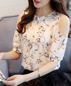 Cheap shirts for women, Buy Quality floral shirt directly from China blusa floral Suppliers: 2018 Chiffon Print Blusas Floral Shirt For Womens Elegant Open Shoulder Blouses Women Ete Plus Size Female Tops Plus Size Shirts, Plus Size Tops, Camisa Floral, Floral Tops, Off Shoulder T Shirt, Shoulder Tops, Winter Blouses, Floral Print Shirt, Floral Blouse