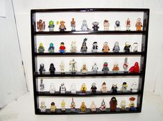 Handcrafted Solid Oak Painted Gloss Black Legos Minifigure  50 Figure Display Shelf w/ Black 2x2 Plates