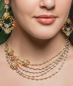 A signature collection of floral masterpieces by VBJ Gold Jewelry Simple, Stylish Jewelry, Fashion Jewelry, Pearl Necklace Designs, Antique Necklace, Gold Necklace, Fancy Jewellery, Diamond Jewellery, Bridal Jewelry