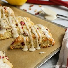 Lemon Rhubarb Scones with Vanilla Bean Glaze from afarmgirlsdabbles.com This has an excellent base for scones.