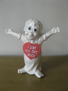 """Vintage 1968 I LOVE YOU This Much statue - 12"""" -Russ Berrie  Co -Wallace Berrie  Co -unbreakable -original hang tag on neck- sillisculpt by oakiesclaptrap on Etsy"""
