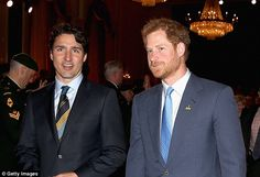 Dreamy friends: Prince Harry was in Toronto with Prime Minister Justin Trudeau (above on Monday) earlier this week