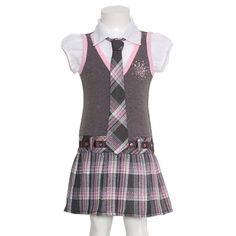 Girls Cute Gray Pink Plaid Vest Tie Fall School « Clothing Impulse