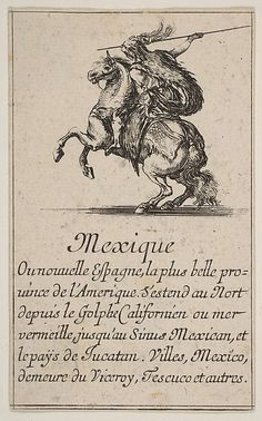 "Etched by Stefano della Bella (Italian, Florence 1610–1664 Florence). Designed by Jean Desmarets de Saint-Sorlin (French, 1595–1676). Mexico, from 'Game of Geography' (Jeu de la Géographie), 1644.  The Metropolitan Museum of Art, New York. Gift of the Estate of James Hazen Hyde, 1959(59.654.19(38)) | This work is exhibited in the ""Drawings and Prints: Selections from The Met Collection"" exhibition, on view through October 24, 2016"