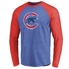 Chicago Cubs Distressed Team 2 Raglan Tri-Blend Long Sleeve T-Shirt - Royal