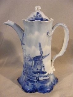 Antique Blue White Rosenthal German Delft Chocolate Pot Versailles | eBay - HOW I LOVE this!!!