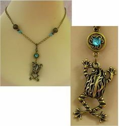 Burnished Gold Celtic Frog Pendant Necklace Jewelry Handmade NEW Chain