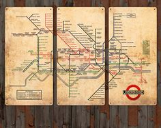 Vintage Map of London Underground  on METAL by ArtHouseGraffiti, $139.00