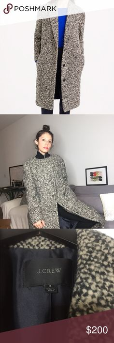 Jcrew Bouclé Topcoat Warn only 2 times!!!! I was a little over zealous with the purchase and didn't realize I'd look like Mary Kate Olsen in such an oversized coat! It's great, I love it, I should have just sized down. It's a size 4! J. Crew Jackets & Coats Trench Coats