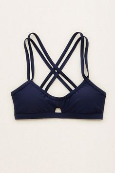 Aerie Strappy Scoop Bikini Top , Navy | Aerie for American Eagle