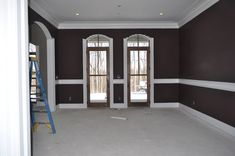 eggplant-brown paint color:  loving this layout for the master bedroom too... Love the doors.