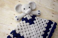 Crochet Elephant Lovey/ Crochet Security by KKCrochetDesigns