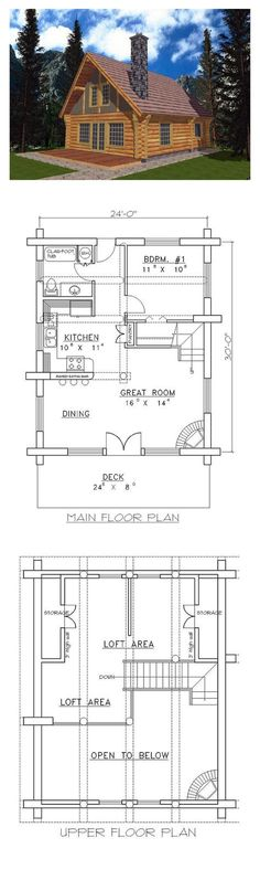 Log House Plan 87006 | Total Living Area: 1040 sq. ft., 1 bedroom & 1 bathroom. #houseplan #loghomeplan