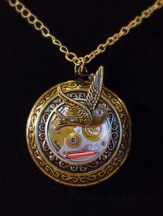 "Steampunk vintage copper ""time flies"" bird on clock gears pendant"