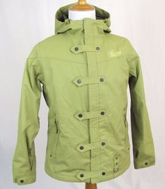 Burton Helsinki Women's Jacket Large Green Hooded Ski Snowboard Waterproof Coat #Burton #BasicJacket