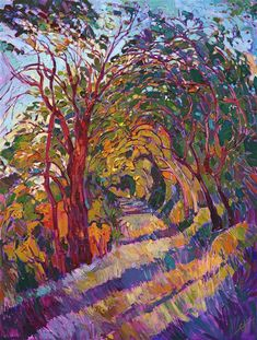 California oaks expressionist landscape oil painting by Erin Hanson