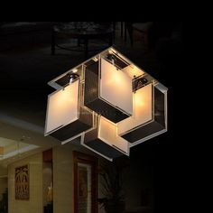 Modern Creative Study Room Ceiling Lights Square Top Reading Room Ceiling Lamps #Contemporary