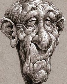 drawn man face drawing free clip art stock illustrations - old man face drawing Caricature Drawing, Drawing Faces, Drawing Sketches, Character Drawing, Character Design, Cartoon Drawings, Art Drawings, Caricatures, Art Sketchbook