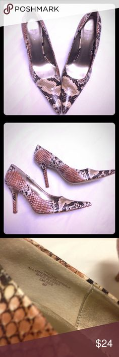 """⚡️SALE⚡️Nine West Snakeskin Print Pointy Toe Heels These Nine West snakeskin print heels are the perfect thing to spice up any outfit! They are in excellent used condition. The only signs of wear are on the sole, where they are some marks and scratches. These are shown in pics. The heel height is approx. 3.75"""". They are surprisingly comfortable for the heel height. Man made materials. Size 8M. Nine West Shoes Heels"""