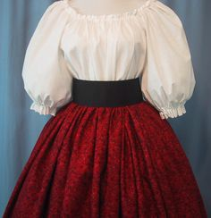 Long Skirt for Costume - Victorian Tea - Dickens Christmas - Pioneer - Civil War Reenactment - Floral Print in Cranberry & Maroon