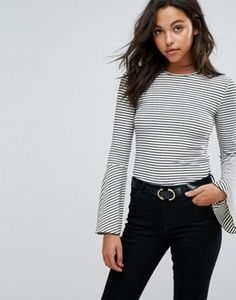 Esprit Flared Sleeve Stripe Top