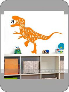 Alphabet and Dinosaur Vinyl Lettering Wall Decal. Available in various sizes and vinyl colors. What a great way to help your child learn their ABC's. Great for a child's bedroom, daycare, school and even pre-school. Fun for boys and girls!