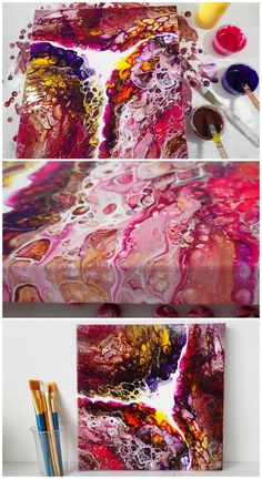 Multi cup flip cup acrylic pouring painting video tutorial.