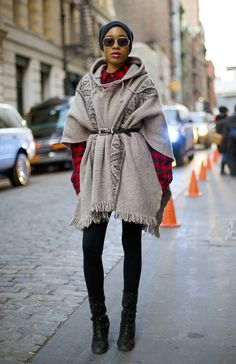 I was digging through my closet and found my poncho, then pretty much did exactly this. Think im going to rock it this winter