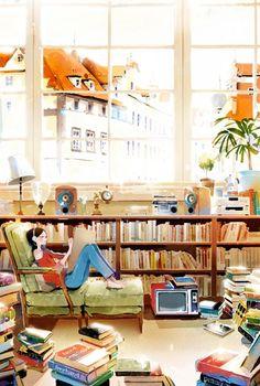Sunday: books, music, writing … leisure times / Domingo: libros, música, escritura… tiempo de ocio (ilustración de Kim Ji-Hyuck, Hanuol)