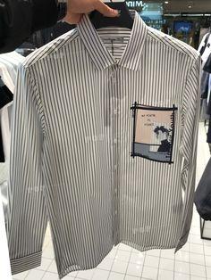 2018SSShanghaiMenswear Top ShirtMind Bridge.smart casual.stripe.design patterns. Polo T Shirts, Boys Shirts, Formal Shirts For Men, Mens Designer Shirts, Japanese Streetwear, Denim Shirt Men, Punk Outfits, Shirt Embroidery, T Shirt Diy