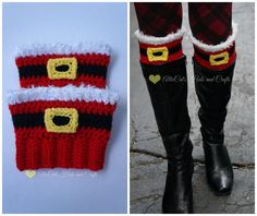 Holiday Cheer Boot Cuffs pattern by RaeLynn Orff is part of Christmas crafts Crochet - Offset that ugly sweater with an adorable pair of Christmas Cheer Boot Cuffs or spread the love with a pair of Valentine Cheer Boot Cuffs, also included in the pattern! Guêtres Au Crochet, Crochet Boots, Crochet Crafts, Yarn Crafts, Crochet Slippers, Free Crochet, Yarn Projects, Knitting Projects, Crochet Projects