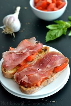 Tomato and Prosciutto Bruschetta by notenoughcinnamon #Bruschetta #Prosciutto #Tomato